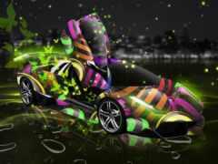 animate, car, neon
