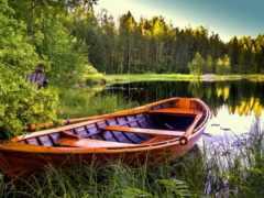 лодка, озеро, берегу