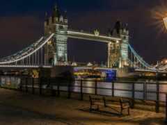мост, ночь, london