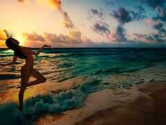 пляж, закат, краска