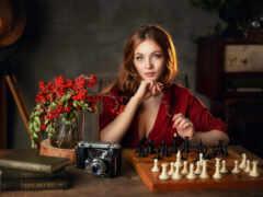 chess, женщина, доска