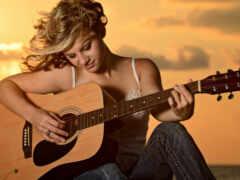 гитара, девушка, play