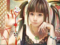 девушка, красивый, азиатка