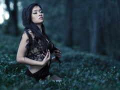 природа, девушка, медитация