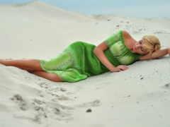 девушка, платье, берег