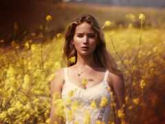 jennifer, lawrence, цветы