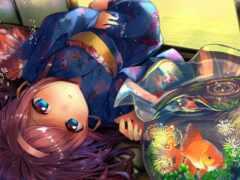 anime, девушка, браун