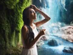 водопад, девушка