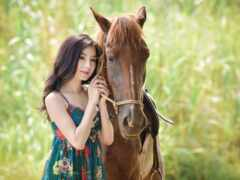 лошадь, девушка, азиатка