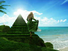 небо, лестница, more