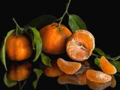 tangerine, долька, лист