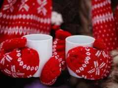 cup, чая, winter
