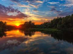 река, урал, закат