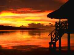 закат, море, природа