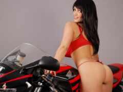 девушка, крутой, мотоцикл