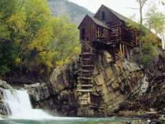 водопада, house, горах