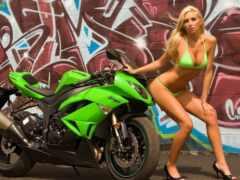 kawasaki, девушка, мотоцикл