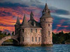 castle, закат, небо