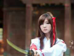 девушка, japanese, меч