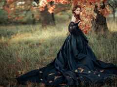 девушка, лес, платье