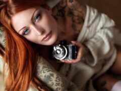фотоаппарат, mirrorless, девушка