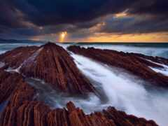 rock, ocean, облако