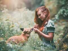 природа, девушка, лицо