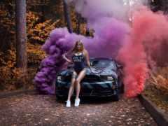 девушка, mustang, car