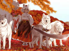 девушка, кимоно, волк
