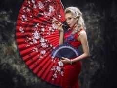 девушка, платье, азиатка