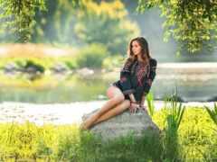 девушка, красивый, природа