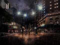 art, rainy, ночь