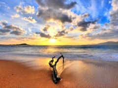 пляж, восход, закат