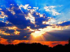 rays, sun, clouds