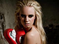 девушка, перчатках, боксерских
