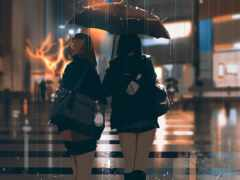 дождь, anime, девушка