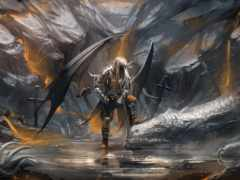 дракон, art, меч
