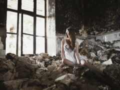 девушка, заброшенном, фотосессия