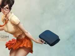 девушка и портфель