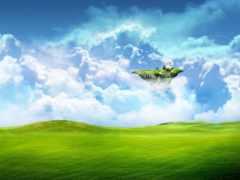 зелень, летающий