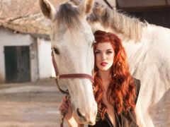 женщина, лошадь, redhead