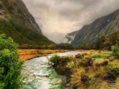 гора, ручеек, река