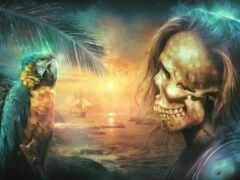 пиратский, корабль, caribbean