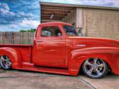 chevy, red, lowrider
