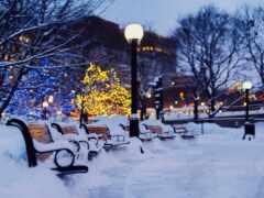 город, winter, вечер