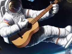 космонавт, гитара, космос