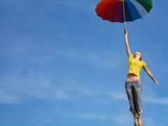 девушка, fly, зонтик