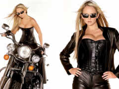 corset, leather, blonde