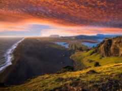 закат, горы, берег