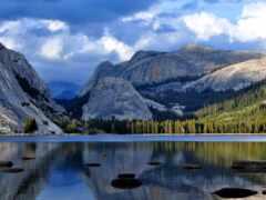 yosemite, озеро, гора
